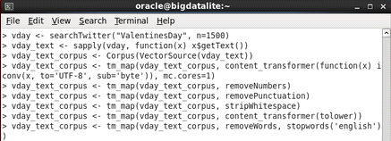 Oracle R, cleaning up the tweets