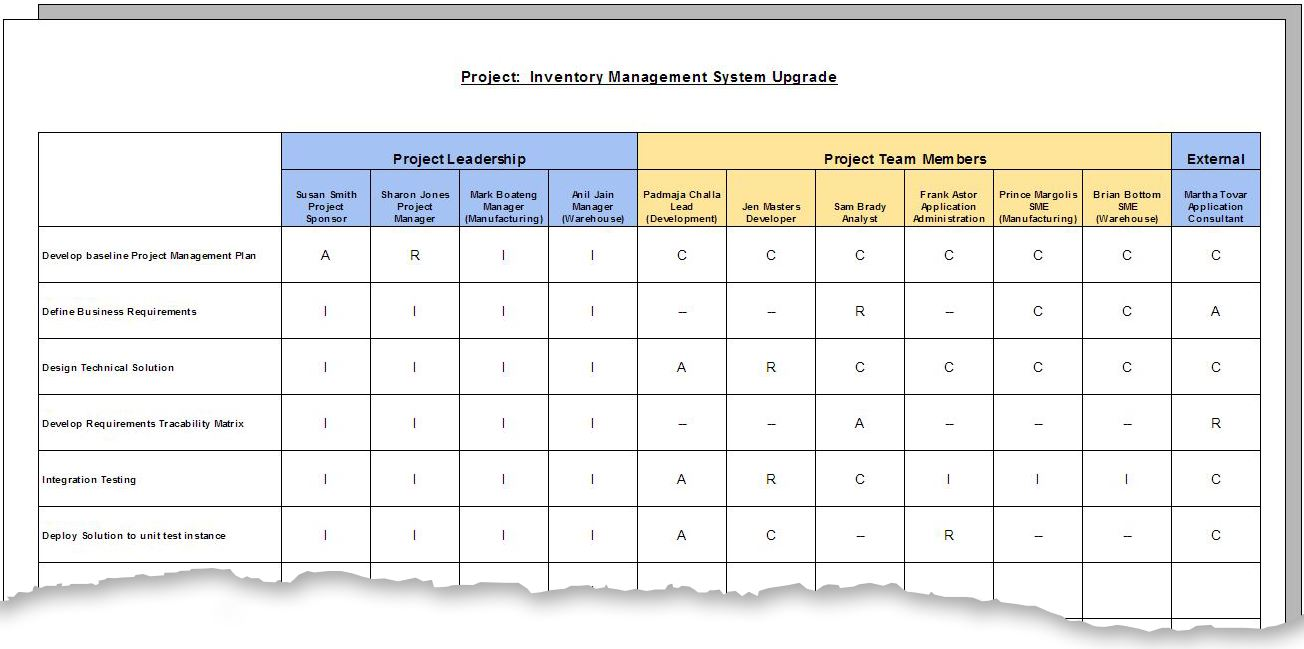 responsibilities assignment matrix Use this to clarify roles and responsibilities in cross-functional/departmental projects and processes.