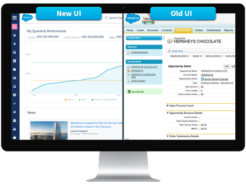 Comparison of the old and new user interface coming in Winter '16 release