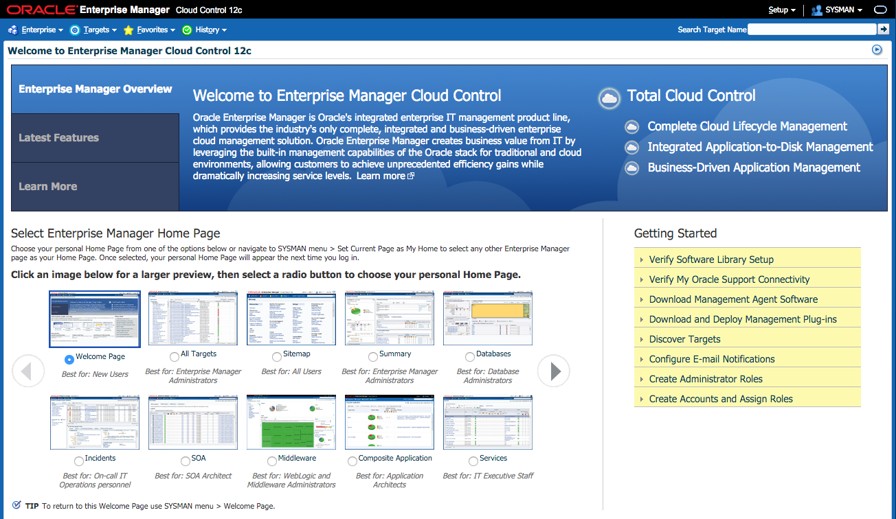 Screenshot of Enterprise Manager Cloud Control